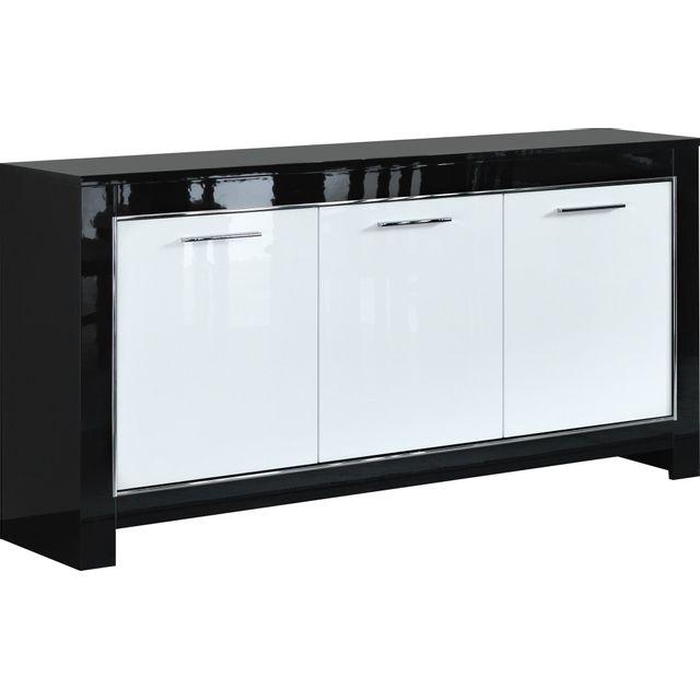 COMFORIUM - Buffet à 3 portes battantes de coloris noir et blanc ...