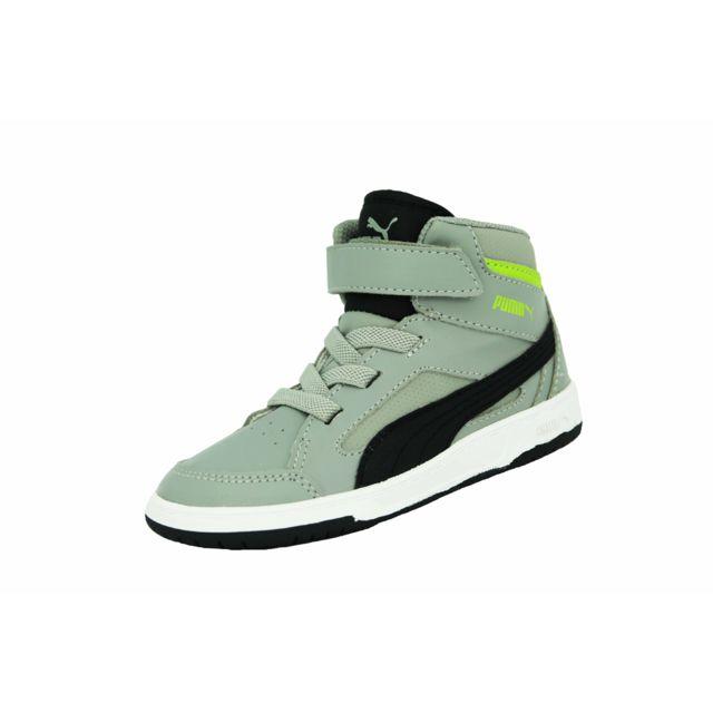 c9245272a384c Puma - Rebound V2 Hi Kids Chaussures Mode Sneaker Bebe Gris Noir - pas cher  Achat   Vente Baskets enfant - RueDuCommerce