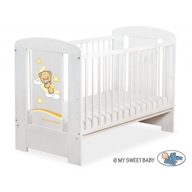 Marque Generique Lit bébé bonne nuit crème + matelas blanc