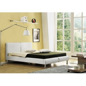 envie de meubles lit 140x190 simili cuir blanc strip. Black Bedroom Furniture Sets. Home Design Ideas