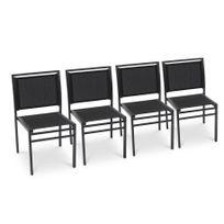 Dcb Garden - Lot de 4 chaises aluminium et textilène noir