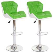 Decoshop26 - Lot de 2 tabourets de bar avec repose-pieds similicuir vert et blanc Tab04023