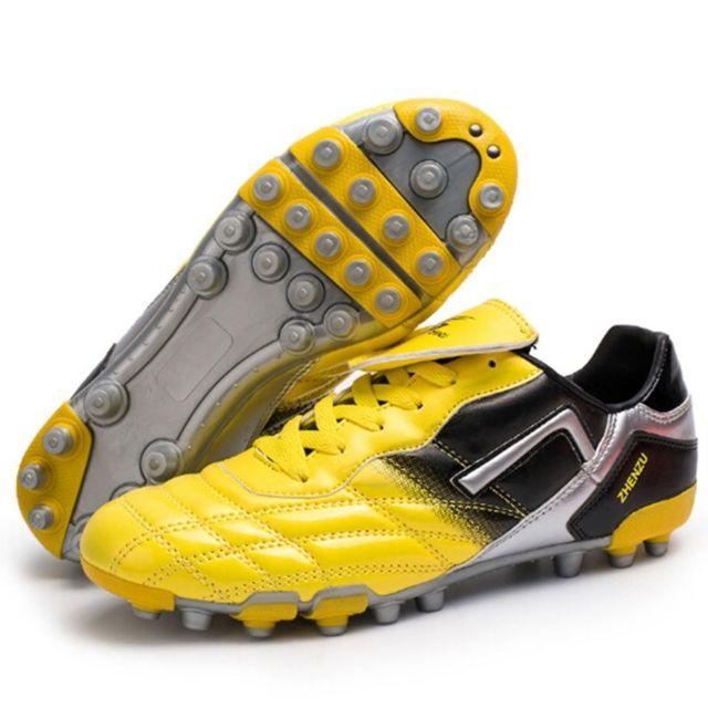 Wewoo Chaussures de foot jaune Pu Ag Nail Football
