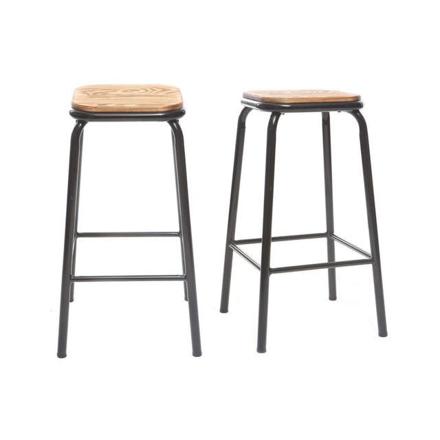 miliboo tabouret de bar design noir et bois fonc h65 cm lot de 2 memphis pas cher achat. Black Bedroom Furniture Sets. Home Design Ideas