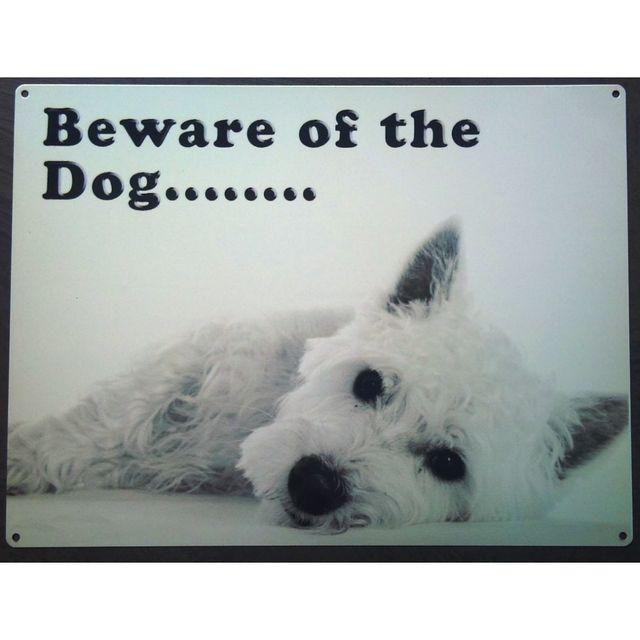 Universel Plaque chien attention westie baware of dog affiche tole