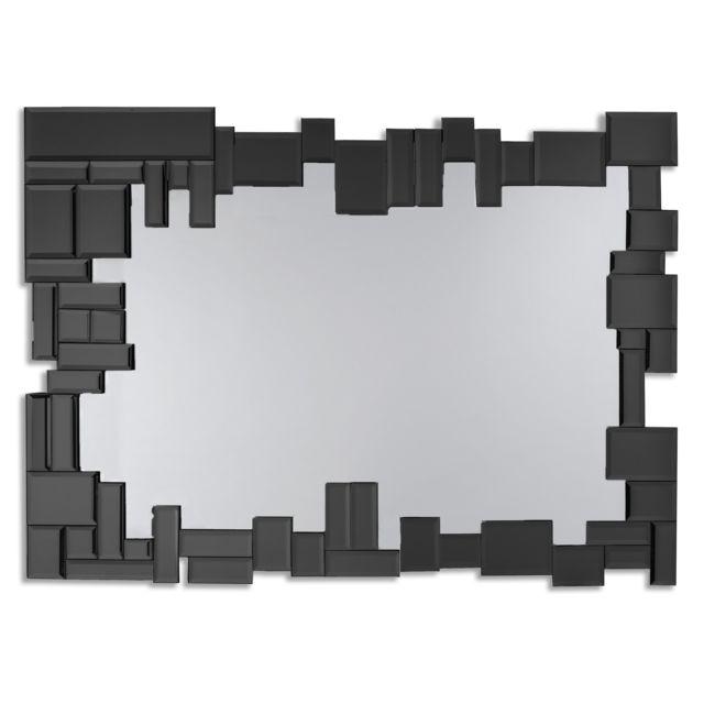Dekoarte E065 - Miroir moderne mural décoratif grand, avec un cadre décoré et des cristaux noirs sur différents plans 100x70cm