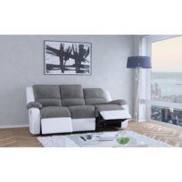 Aucune - Relax Canapé de relaxation en simili et tissu 3 places - 190x93x96 cm - Gris et blanc