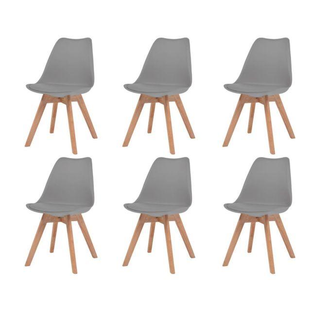 Splendide Fauteuils collection Berlin Chaise de salle à manger 6 pcs Similicuir Bois massif Gris