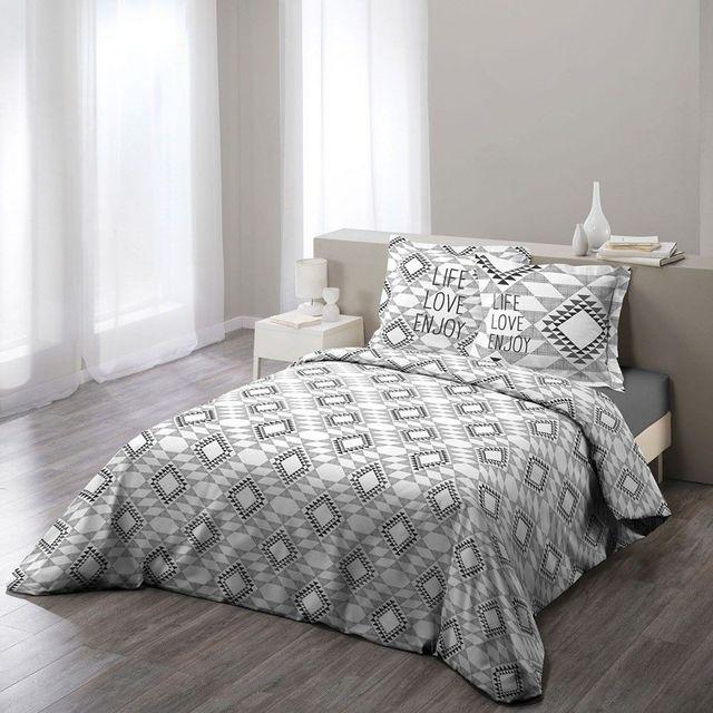 douceur d 39 interieur housse de couette 200x200 100 coton folio gris taies d 39 oreillers pas. Black Bedroom Furniture Sets. Home Design Ideas