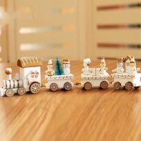 Wewoo - Ornements de noël Décoration table trains en bois enfants maternelle cadeaux blanc