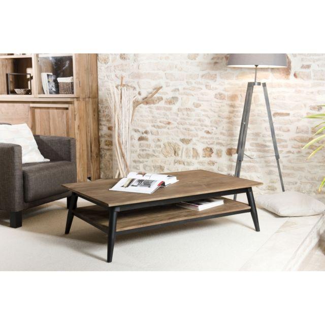 MACABANE Table basse en teck recyclé avec double plateau