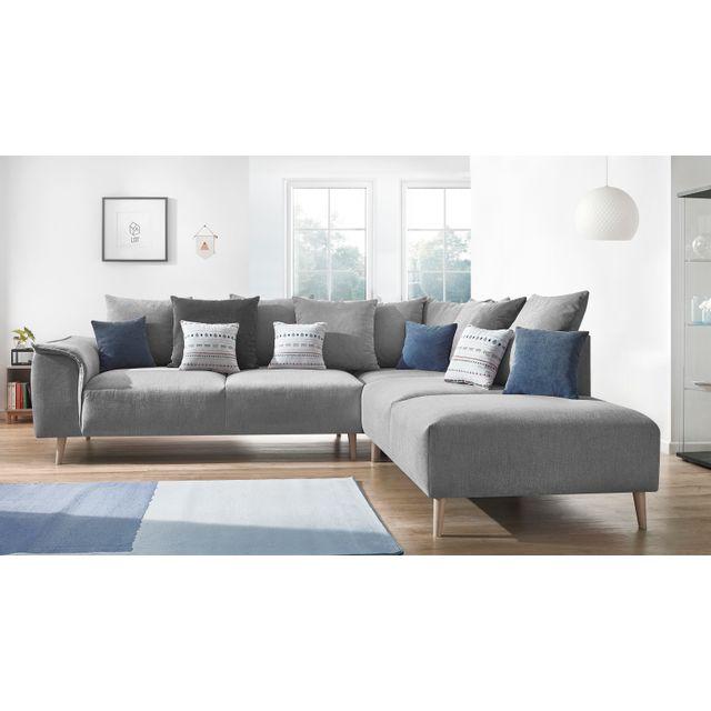 BOBOCHIC Canapé d'angle LONDON - 6 places - Fixe - Angle droit - Gris clair