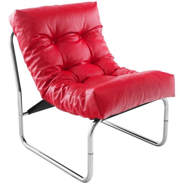 Kasalinea Fauteuil de relaxation rouge design Pu et chrome Andreas2