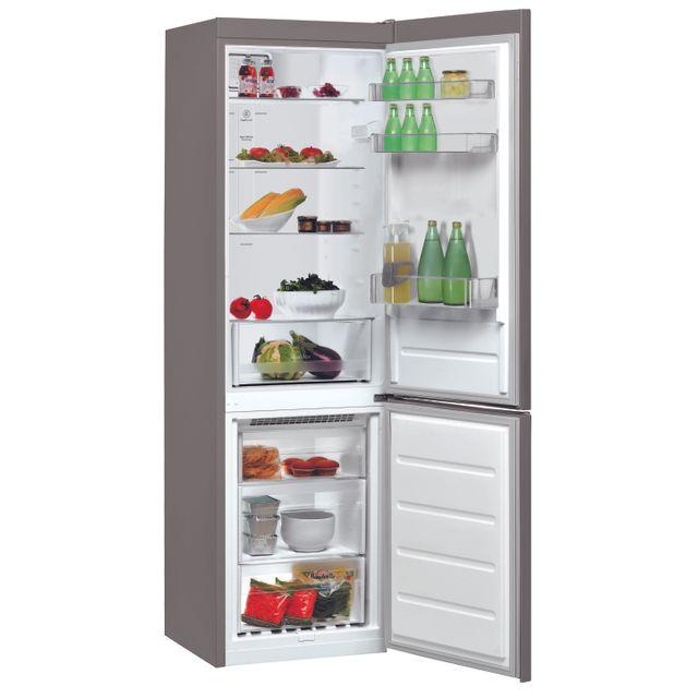 Whirlpool Réfrigérateur congélateur combiné BSNF8101OX Consommation 311 kWh/an, Dégivrage automatique, Volume utile Réfrigérateur 222L/Congélateur 97L, Classe climatique SN.T, Niveau sonore 42 dB (A)