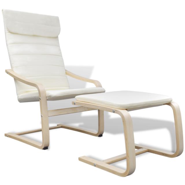 Rocambolesk Superbe Fauteuil en bois courbé couleur crème avec repose-pieds Neuf