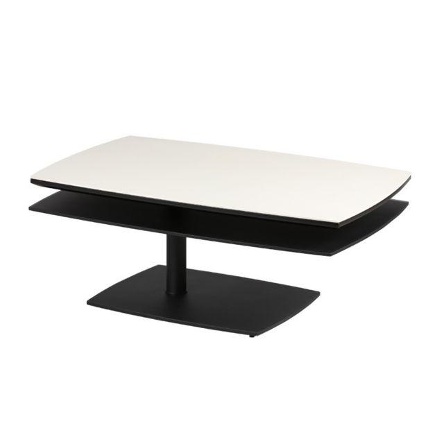 Tousmesmeubles Table basse Blanc/Noir - Flamb