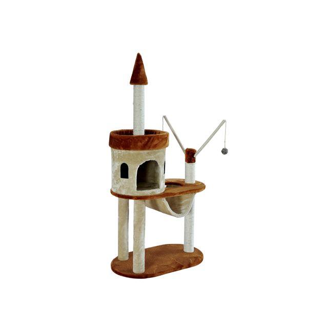 Bcelec - Arbre à chat griffoir brun et beige de 140CM,type Château,  Dimensions 84a16e2e5c88