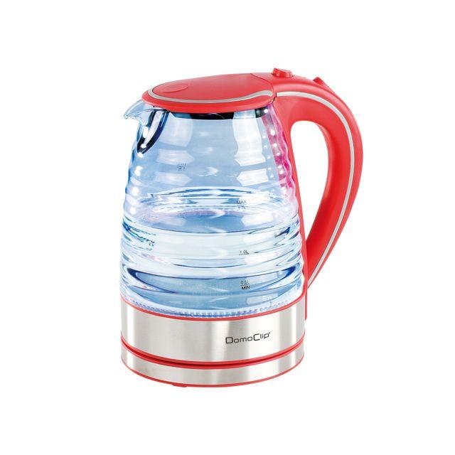 DOMOCLIP Bouilloire en verre 1,7 L rouge DOD128R