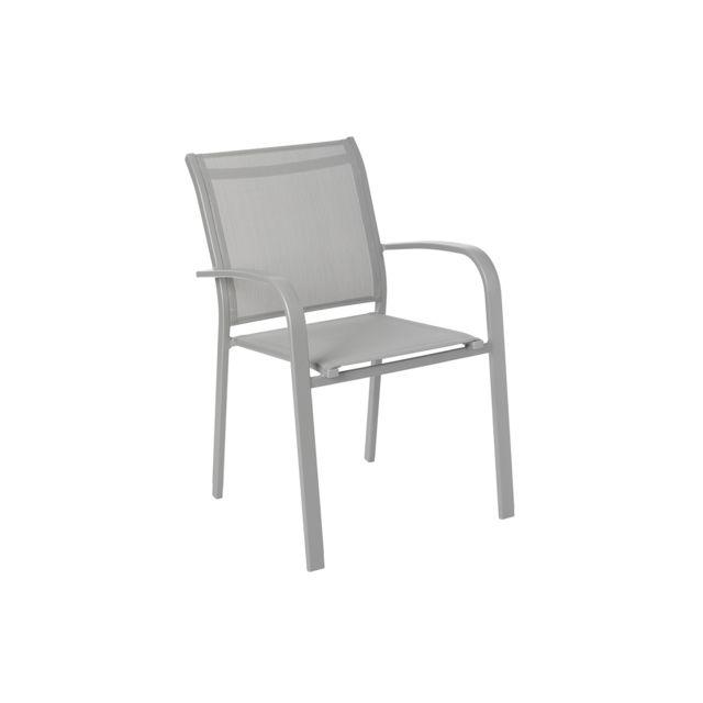 Chaise de jardin empilable alu Essentia Galet/Silver - Hespéride