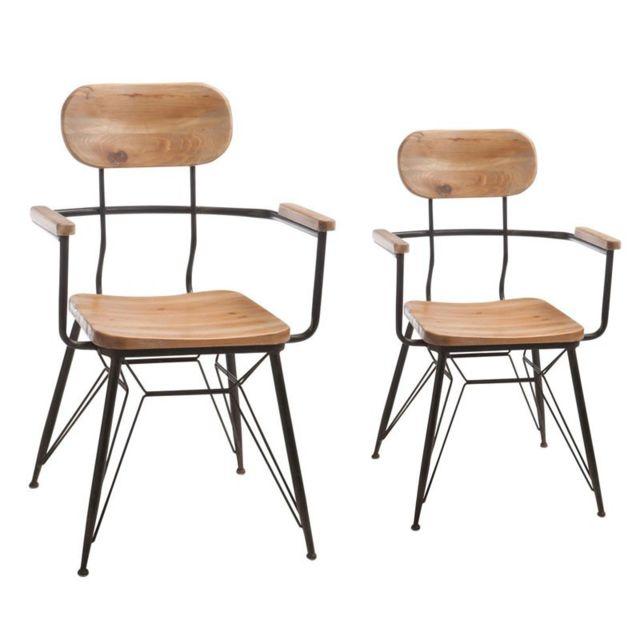 Tousmesmeubles Duo de fauteuils Bois/Métal - Venus