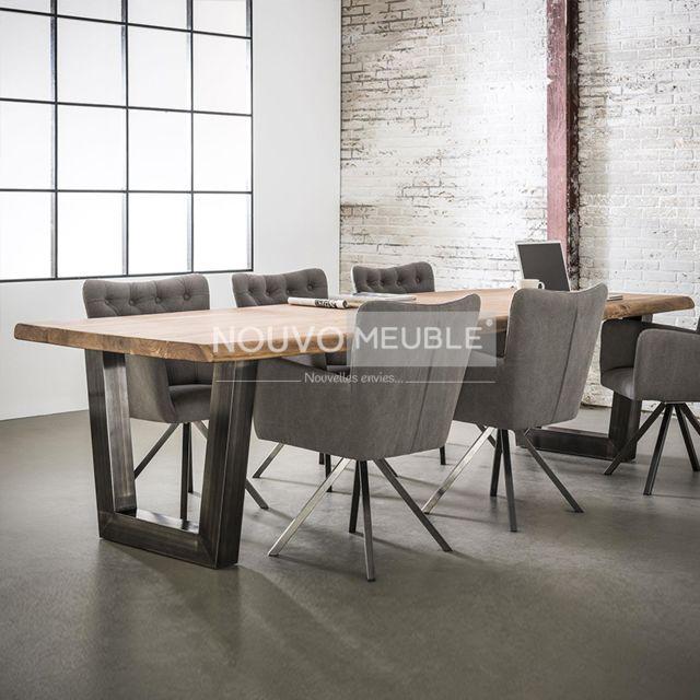 Nouvomeuble Table à manger 240 cm en bois massif Britana 2