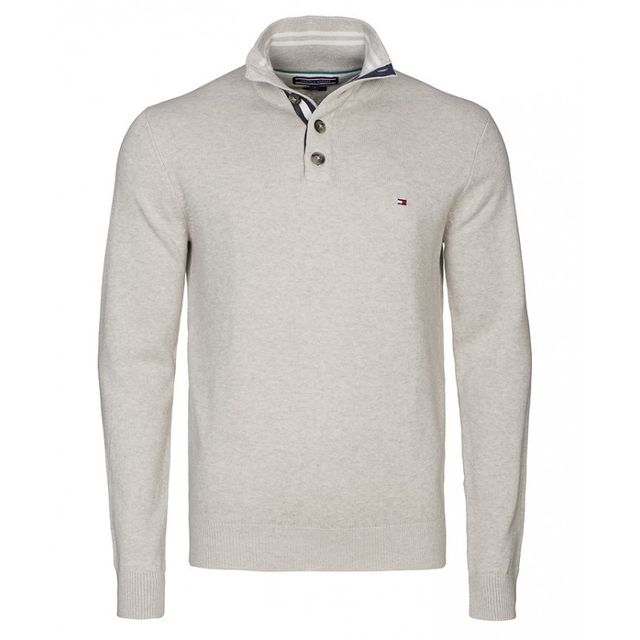 Tommy Hilfiger - Pull Adrien Gris Col Boutonne - pas cher Achat   Vente Pull  homme - RueDuCommerce c14f3b857a00
