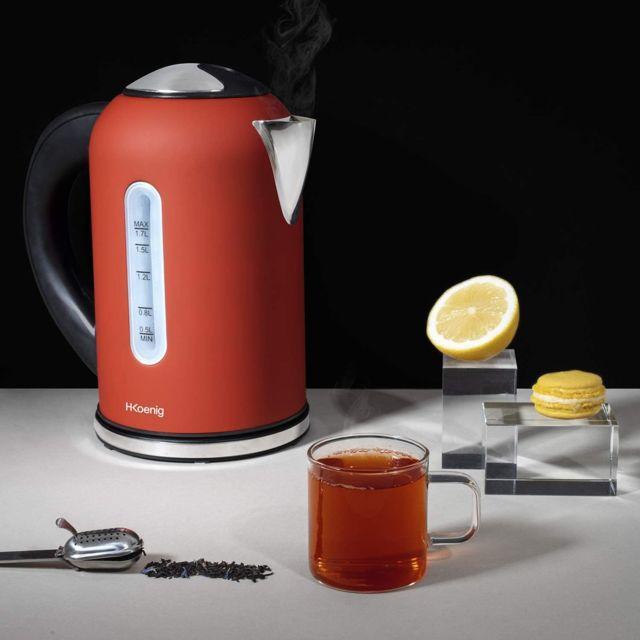 Hkoenig bouilloire électrique de 1,7L sans fil 2200W noir gris rouge