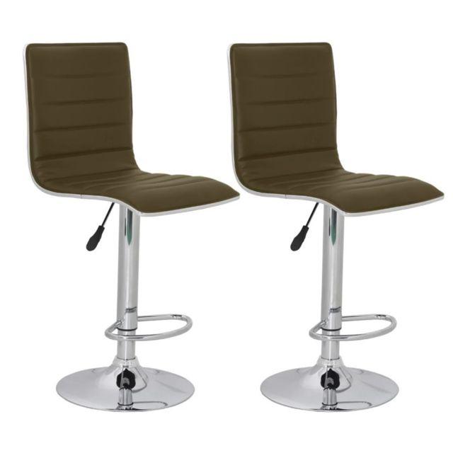 Lot de deux tabourets de bar design chaise siège marron 1202127