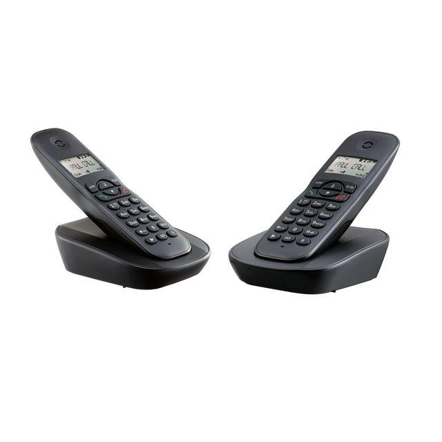 POSS Téléphone fixe sans fil sans répondeur Duo - PSDP120D Capacité du répertoire : 20 - Haut-Parleur - 2 combinés