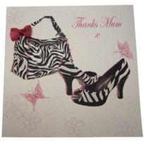 White Cotton Cards - Amd10 Carte De Voeux Faite À La Main Avec Inscription Zebra Sac Et Des Chaussures