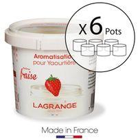 Lagrange - Lot de 6 pots d'aromatisation pour yaourts Fraise