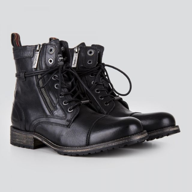 715cdfd95d6 Pepe Jeans - Boots en cuir noir à lacets homme 45 - pas cher Achat   Vente  Boots homme - RueDuCommerce