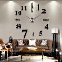 Horloge Murale Effet Miroir Creative 3d A Monter Soi Meme Adhesif Noire