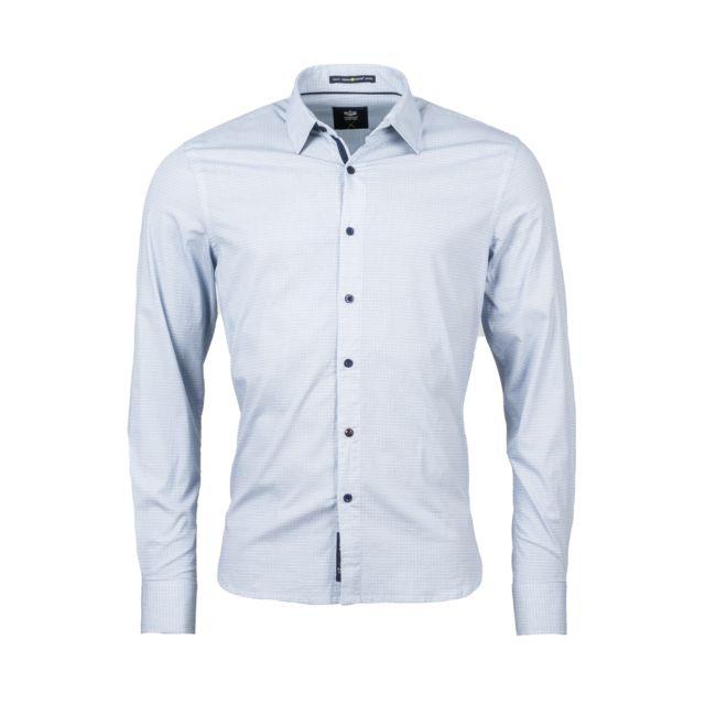 Freeman T Porter Chemise ajustée Come sign en coton stretch blanc à motifs bleus