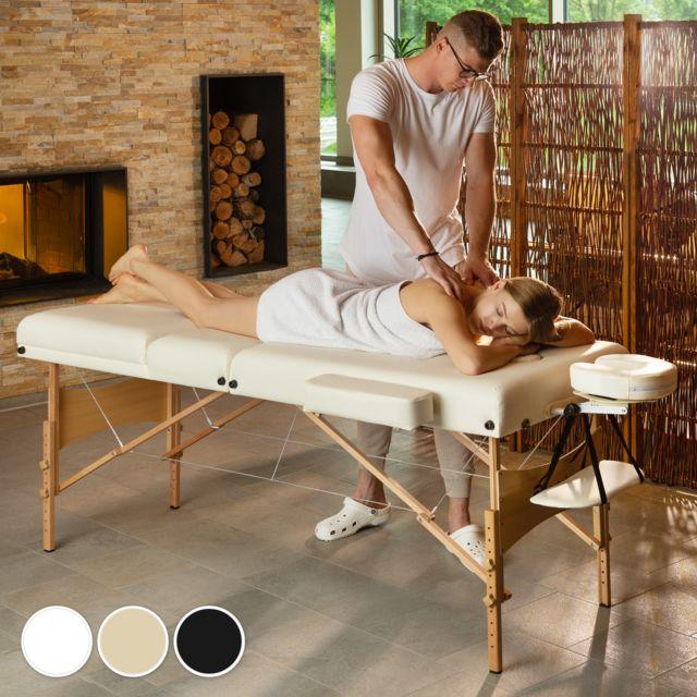 Tectake Table De Massage Pliante 3 Zones Blanc Housse De