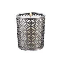 Ebougie - Bougie parfumée Fleurs blanches 190 gr verre transparent avec parure couture camelia argent