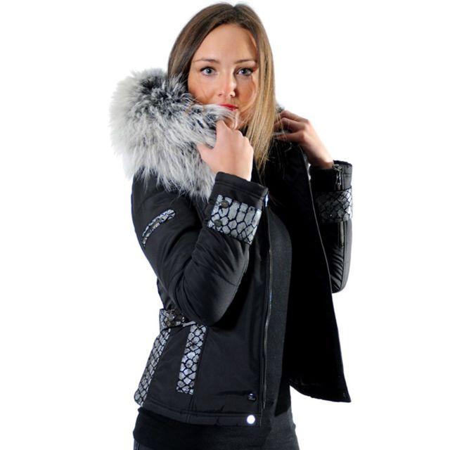 6f147dc2ed8 Ventiuno - Emily - Sofia doudoune femme bi-matière cuir d agneau python et fourrure  véritable grisedoudoune