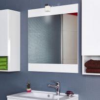 Creazur - Miroir avec applique lumineuse Mirosa - 70 cm blanc