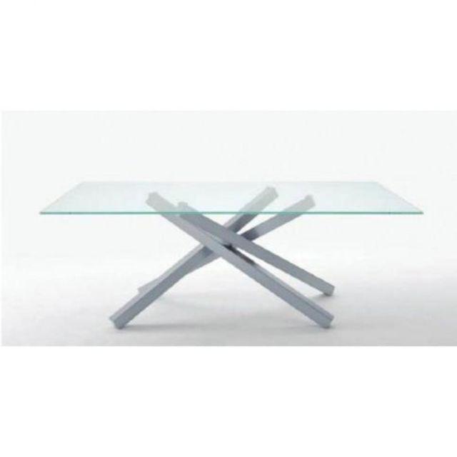 Inside 75 Table repas Infinity piétement alu dessus en verre transparent 106 x 200 cm