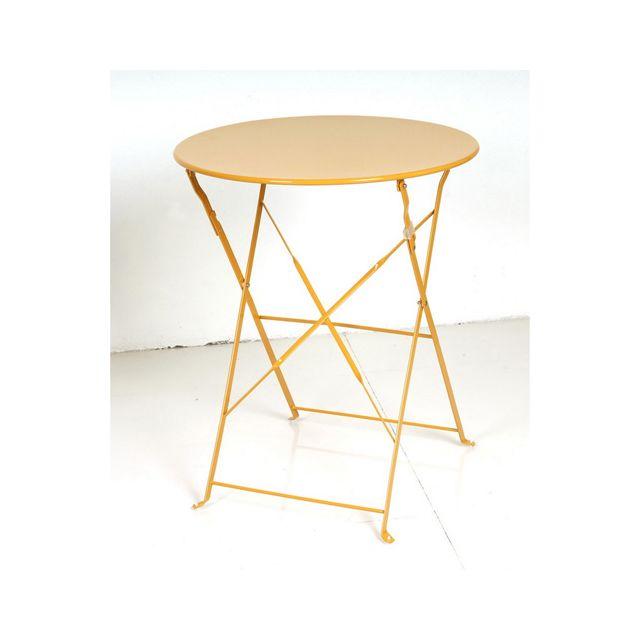 Hespéride - Table ronde pliante Camargue - 2 Places - Orange - pas ...