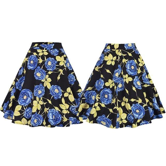 Wewoo - Jupes Femme rose Floral Imprimer Taille Haute A Line Vintage évasé  Midi jupe Bleu d52cdec9e7d4