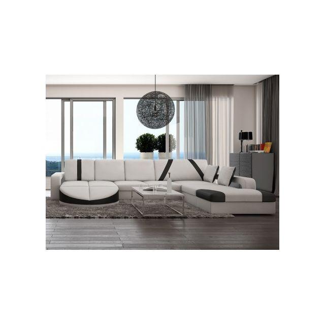VENTE-UNIQUE Canapé d'angle droit en simili MINTIKA - Blanc et bandes noires