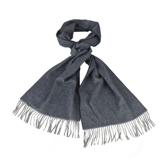 Harris Wilson Echarpe Xever en laine mélangée bleu marine et gris chiné