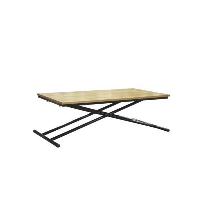 TABLE A MANGER SEULE SAMANTHA Table Up and Down - Pieds métal noir et décor chene naturel - L 110 x P 60 x H 39-75 cm