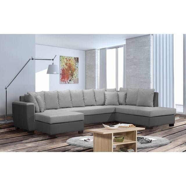 Modern Salon - Canapé panoramique Pégase angle Gauche gris clair ...
