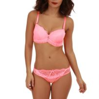 Lamodeuse - Ensemble lingerie rose fluo volants et pendentif décoratif