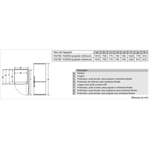 Bosch - Réfrigérateur combiné 505L - KGV58VL31S