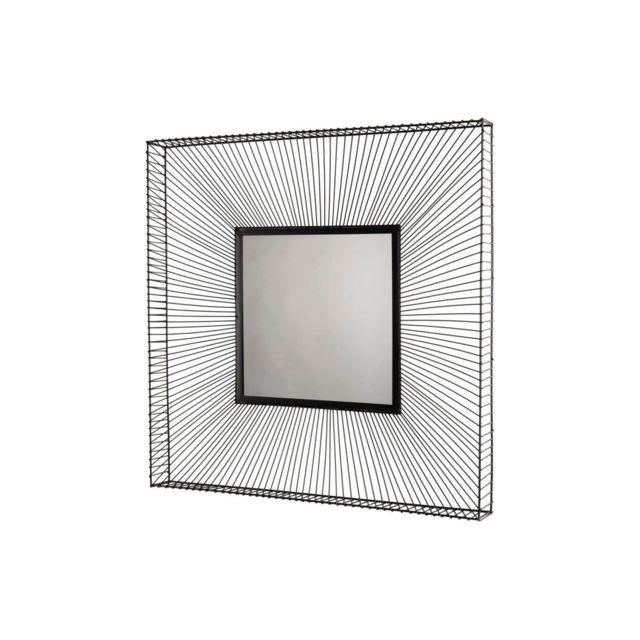 Bobochic Miroir carré métal noir Jiosa