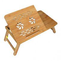 Mobili Rebecca - Table de Lit Notebook Bambou Natural Support Pc Pratique Fonctionnel Sejour