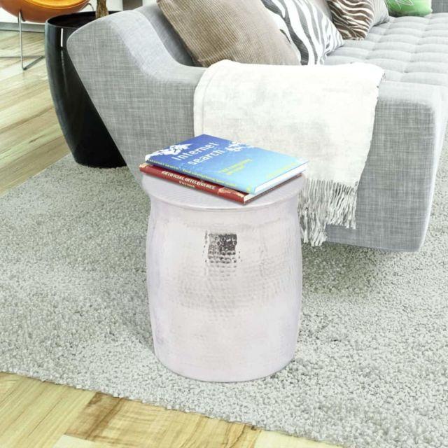 ICAVERNE Bouts de canapé serie Table basse/tabouret martelé en aluminium Argenté
